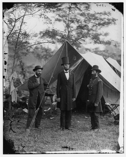 Antietam Md Allan Pinkerton President Lincoln and Maj Gen John A McClernand Library of Congress