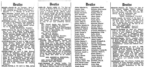 King NYT Obituaries