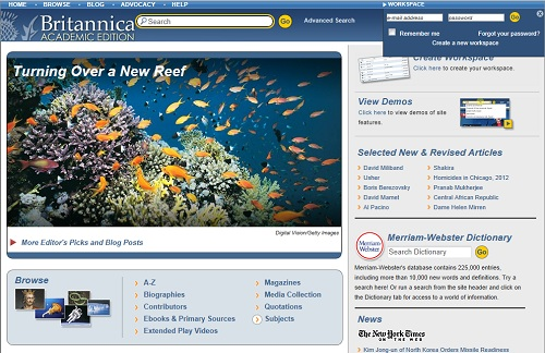britannica search page