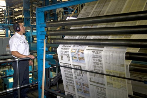 Newspaper being printed by Photo Researches via ImageQuest