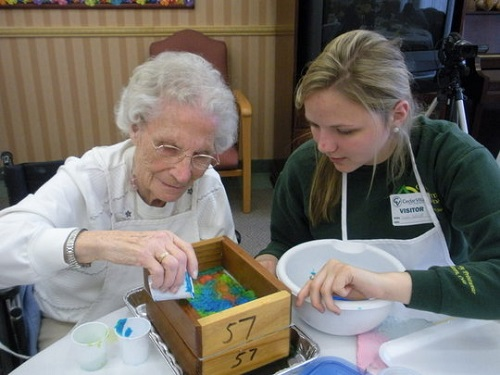 painting with volunteer