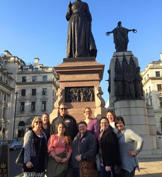 Our group at Florence Nightingale's statue